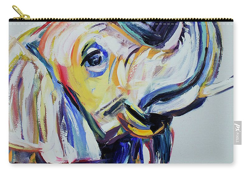 Elephant Carry-all Pouch featuring the painting Elephant Tusk by Nickie Perrin Paintings