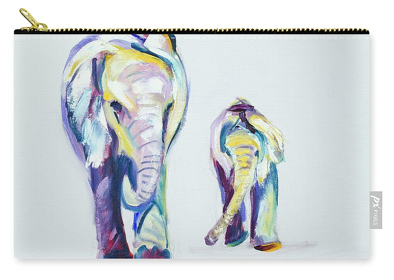 Elephants Carry-all Pouch featuring the painting Elephants Side By Side by Nickie Perrin Paintings