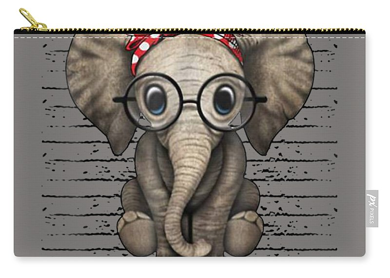 girls' Novelty Clothing Carry-all Pouch featuring the digital art Elephants With Bandana Headband And Glasses Cute T-shirt by Unique Tees
