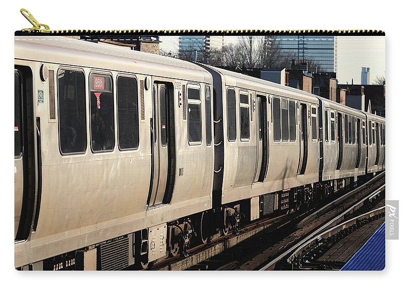 Railroad Track Carry-all Pouch featuring the photograph Elevated Train Descends Into Subway by Bruce Leighty