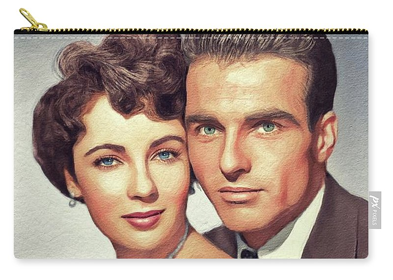 Elizabeth Carry-all Pouch featuring the painting Elizabeth Taylor And Montgomery Clift, Hollywood Legends by John Springfield
