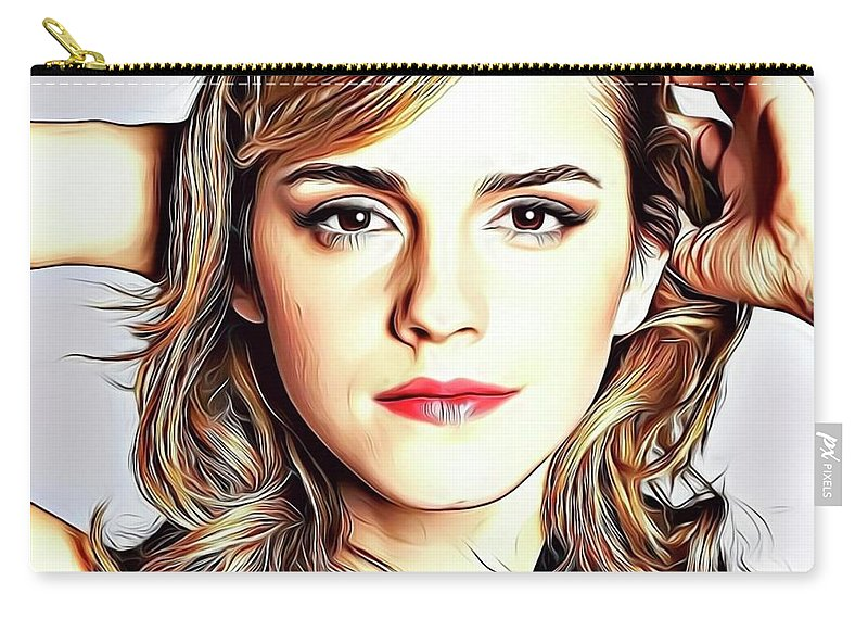 Celebrity Carry-all Pouch featuring the digital art Emma Watson by Russ Carts