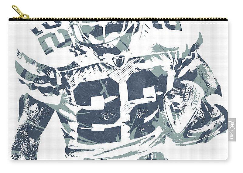 Emmitt Smith Carry-all Pouch featuring the mixed media Emmitt Smith Dallas Cowboys Pixel Art 11 by Joe Hamilton