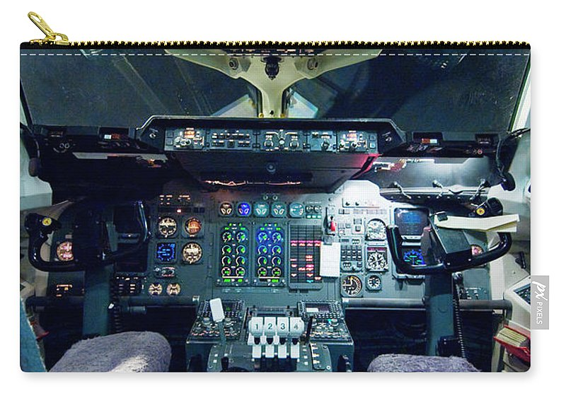 Cockpit Carry-all Pouch featuring the photograph Empty Aeroplane Cockpit by Moodboard
