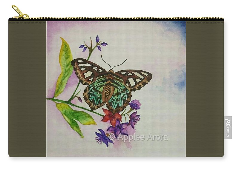 Butterfly Carry-all Pouch featuring the painting Enchanting Butterfly by Applee Arora