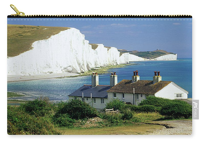 Scenics Carry-all Pouch featuring the photograph England, Sussex, Seven Sisters Cliffs by David C Tomlinson