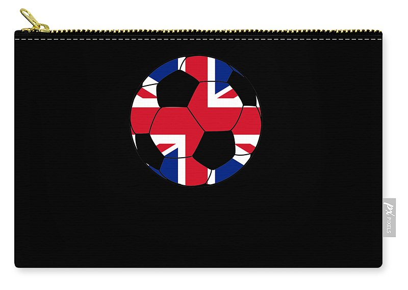 Mens-soccer-apparel Carry-all Pouch featuring the digital art English Soccer Design British Flag Soccer Ball by Funny4You