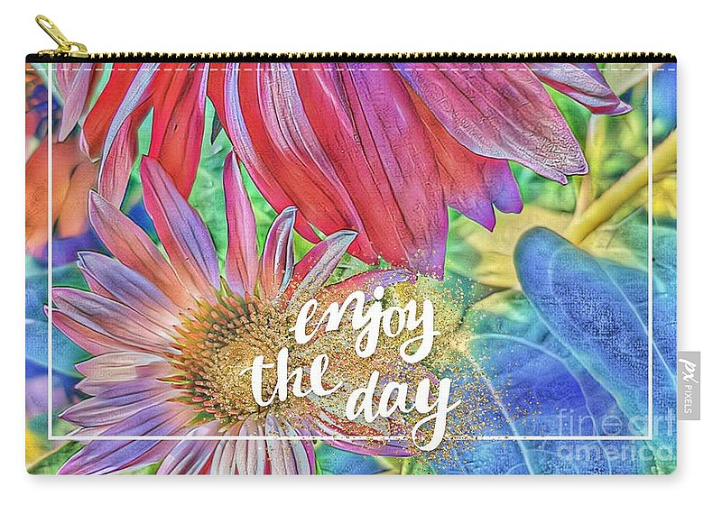 Cards Carry-all Pouch featuring the digital art Enjoy The Day by Paola Baroni