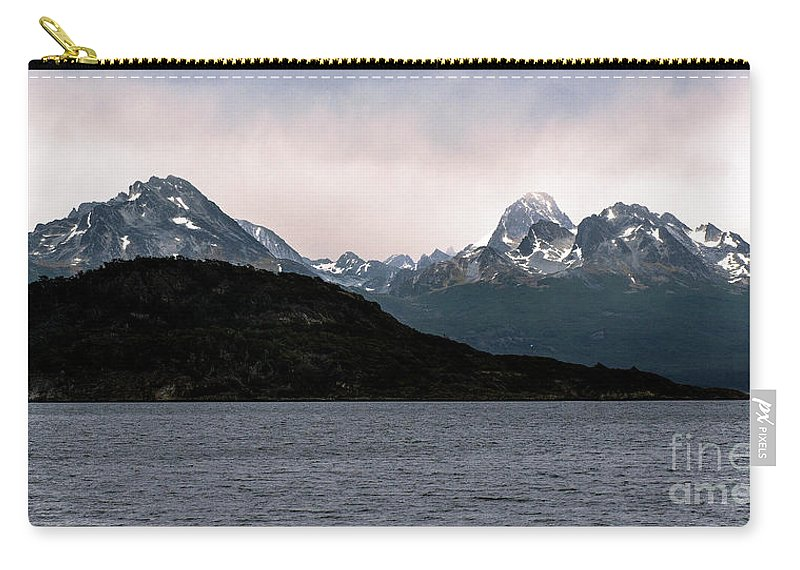 Ensenada Bay Carry-all Pouch featuring the photograph View Over Ensenada Bay Of High Peaks In Tierra Del Fuego National Park, Ushuaia, Argentina by Yefim Bam