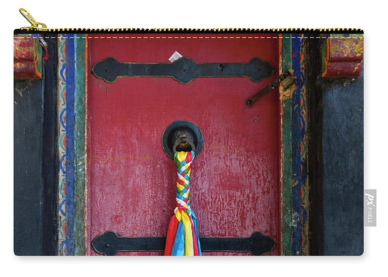 Chinese Culture Carry-all Pouch featuring the photograph Entrance To The Tibetan Monastery by Hanhanpeggy