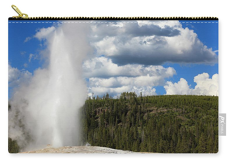 Geyser Carry-all Pouch featuring the photograph Eruption Of Old Faithful Geyser In by Pawel.gaul