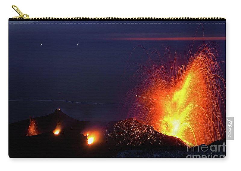 Non-urban Scene Carry-all Pouch featuring the photograph Eruption Of Stromboli Volcano, Italy by Francesco Sartori