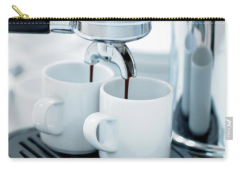 Temptation Carry-all Pouch featuring the photograph Espresso Machine Making Coffee by Adam Gault