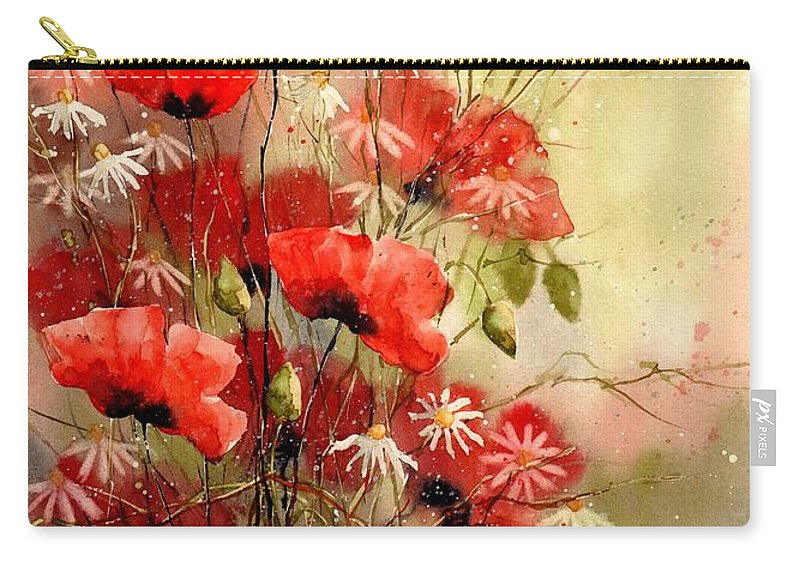 Red Carry-all Pouch featuring the painting Everything About Poppies IIi by Suzann Sines