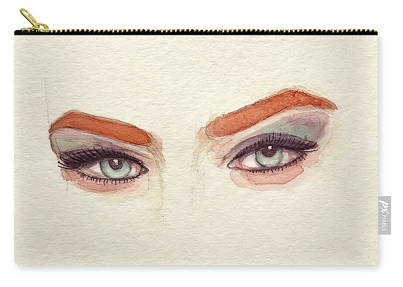 Eye Carry-all Pouch featuring the painting Makeup Art Painting by Mahsa Watercolor Artist