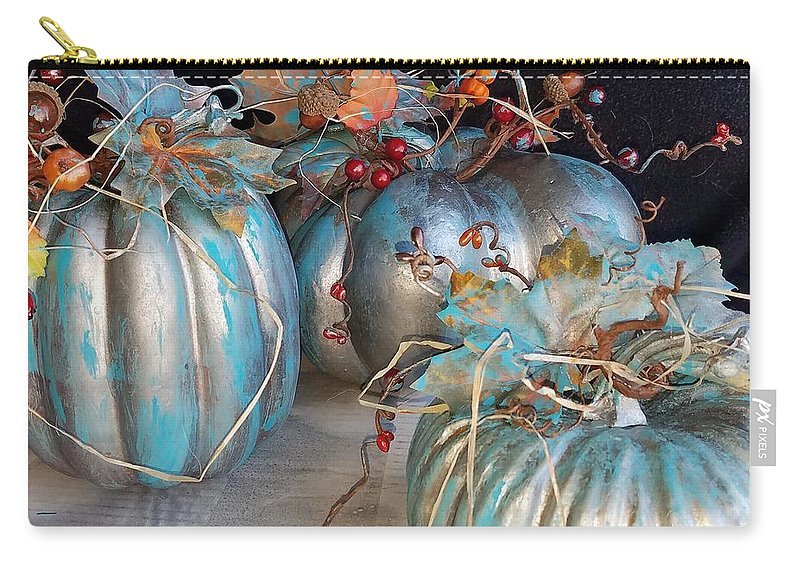 Fall Carry-all Pouch featuring the mixed media Fall Pumpkins by Lisa Debaets
