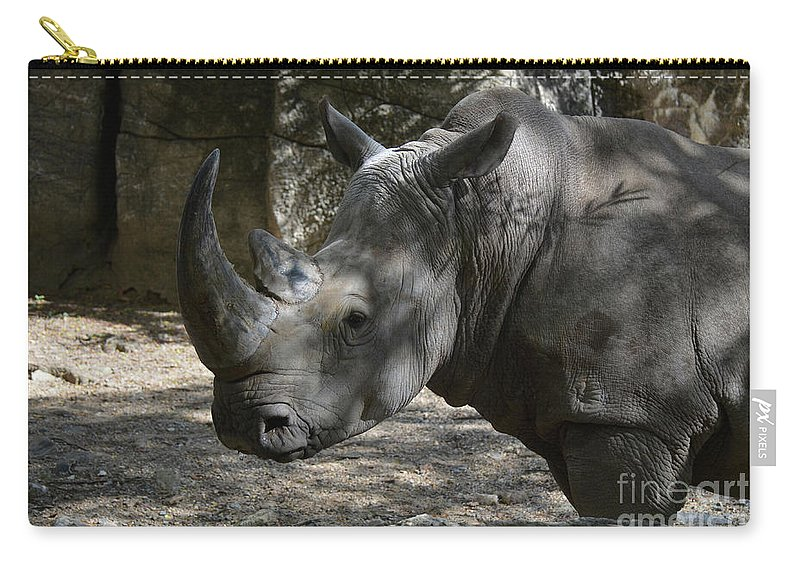 Rhino Carry-all Pouch featuring the photograph Fantastic Profile Of A Rhino With A Long Horn by DejaVu Designs