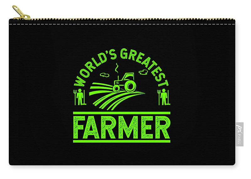 Farmer Carry-all Pouch featuring the digital art Farmer Shirt Worlds Greatest Farmer Gift Tee by Haselshirt