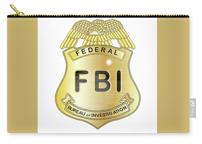 Fbi Carry-all Pouch featuring the digital art Fbi Badge by Bigalbaloo Stock