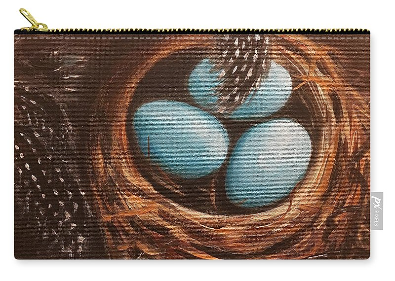 Feathers Carry-all Pouch featuring the painting Feathers And Eggs by Faith Balsama