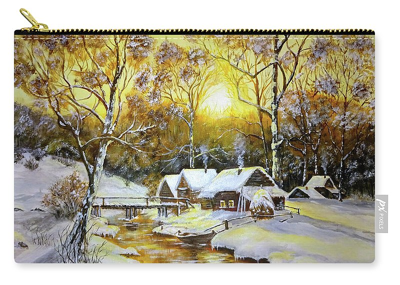 Carry-all Pouch featuring the painting Feerie Winter by Calin Vacaru