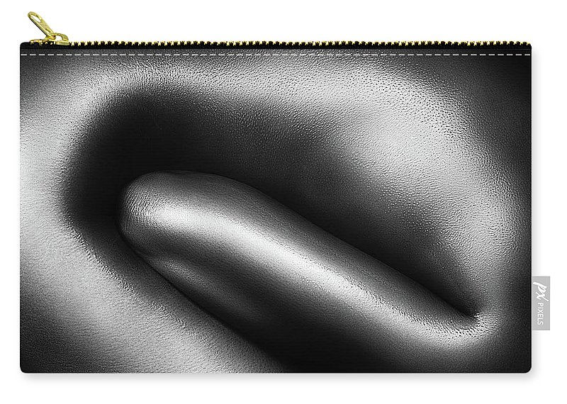 Woman Carry-all Pouch featuring the photograph Female Nude Silver Oil Close-up 3 by Johan Swanepoel