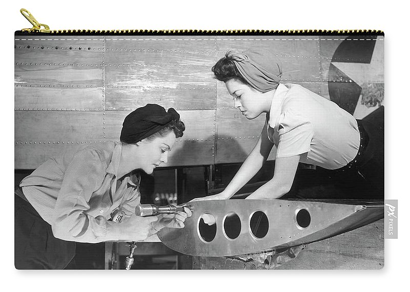 Working Carry-all Pouch featuring the photograph Female Workers Working On Plane by George Marks