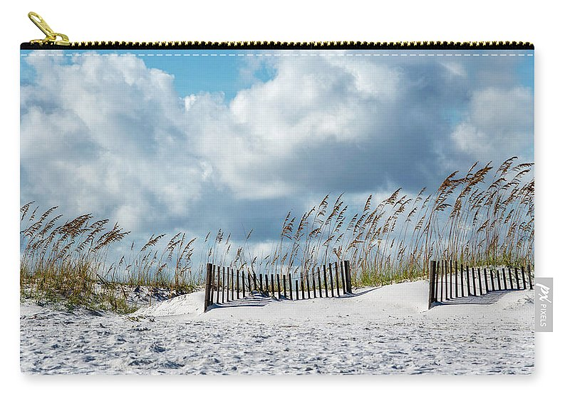 Seascape Carry-all Pouch featuring the photograph Fences In The Sand by Robert Anderson