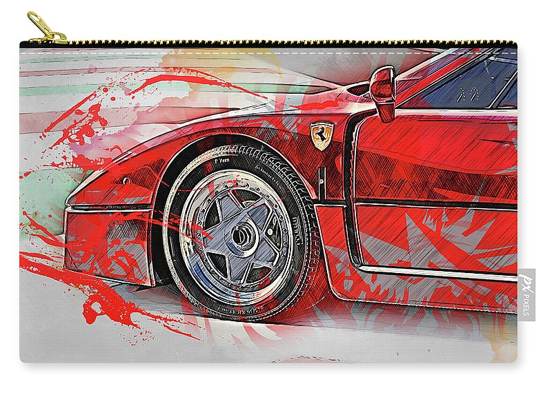 Ferrari Carry-all Pouch featuring the painting Ferrari F40 - 11 by Andrea Mazzocchetti