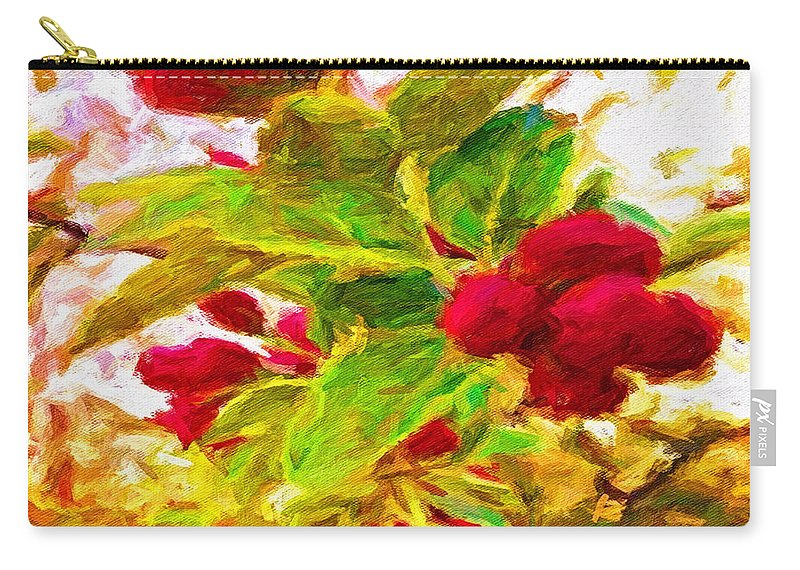 Pamela Storch Carry-all Pouch featuring the digital art Festive Red Berries On Dancing Green Leaves by Pamela Storch