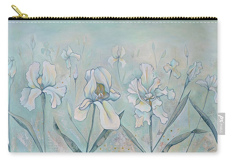 Iris Carry-all Pouch featuring the painting Field Of Whispers by Shadia Derbyshire
