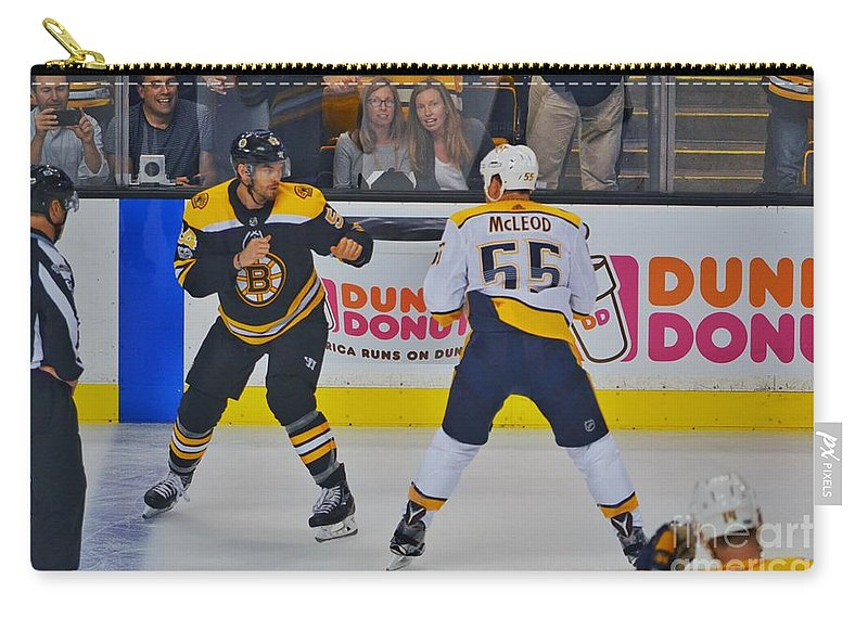 Hockey Carry-all Pouch featuring the photograph Fight by SoxyGal Photography