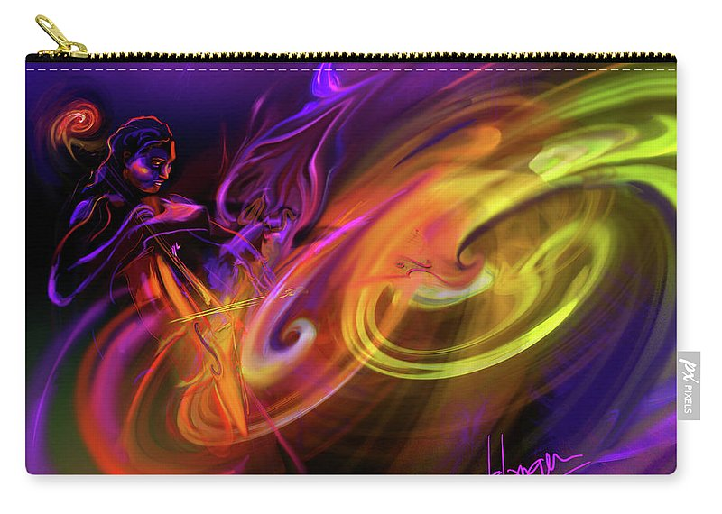 Fiona Carry-all Pouch featuring the painting Cellist In Space by DC Langer