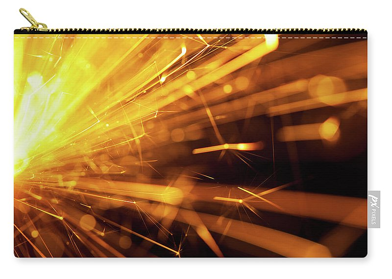 Funky Carry-all Pouch featuring the photograph Fire Sparkler by Nikada