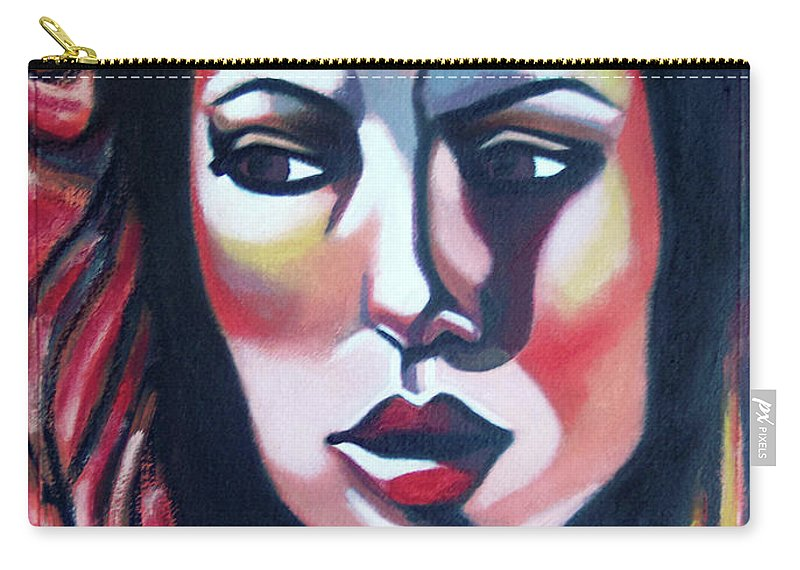 Woman Carry-all Pouch featuring the painting Fire Storm by Lee Wilde-Portraits