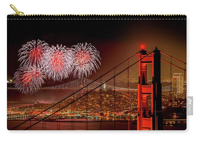 San Francisco Carry-all Pouch featuring the photograph Firework At San Francisco, California by Spondylolithesis