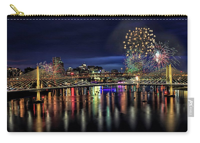 Fireworks And Tillikum Crossing Carry-all Pouch featuring the photograph Fireworks And Tillikum Crossing by Wes and Dotty Weber