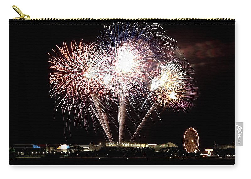 Lake Michigan Carry-all Pouch featuring the photograph Fireworks In Chicago by 400tmax