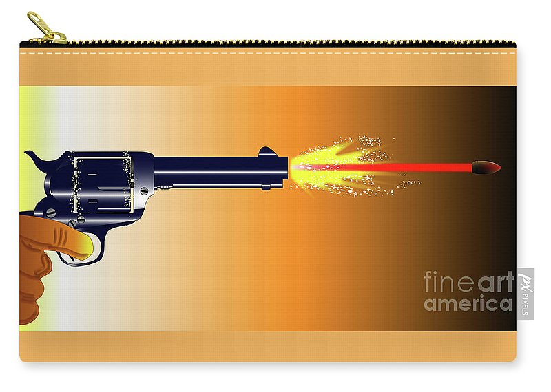 Firing Carry-all Pouch featuring the digital art Firing Revolver by Bigalbaloo Stock