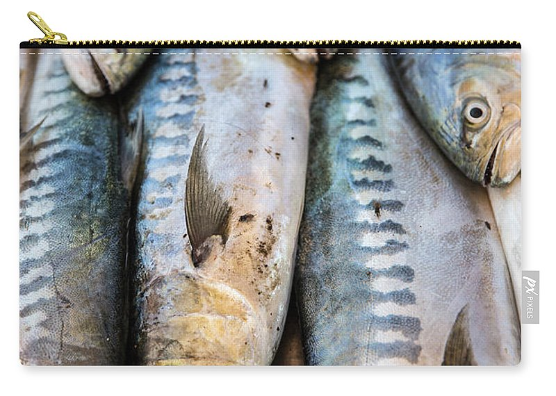 Agadir Carry-all Pouch featuring the photograph Fish In Market, Taghazout, Morocco by Tim E White
