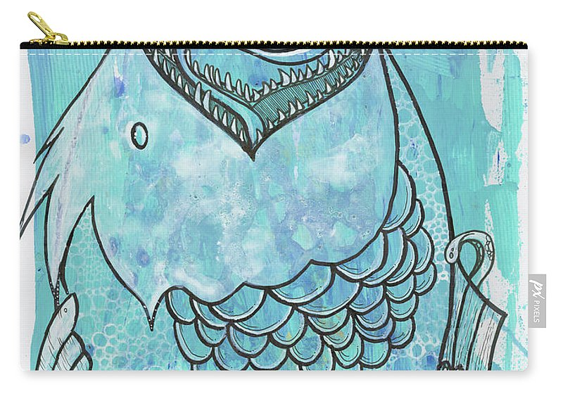 Fishing Carry-all Pouch featuring the mixed media Fishing For Adventure by Todd Damotte