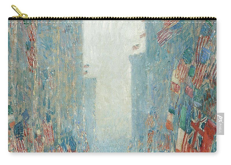 Hassam Carry-all Pouch featuring the painting Flags, Afternoon On The Avenue, 1917 by Childe Hassam