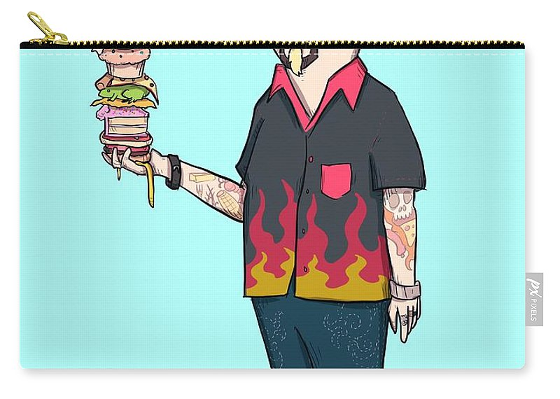 Flavortown Carry-all Pouch featuring the drawing Flavortown by Ludwig Van Bacon