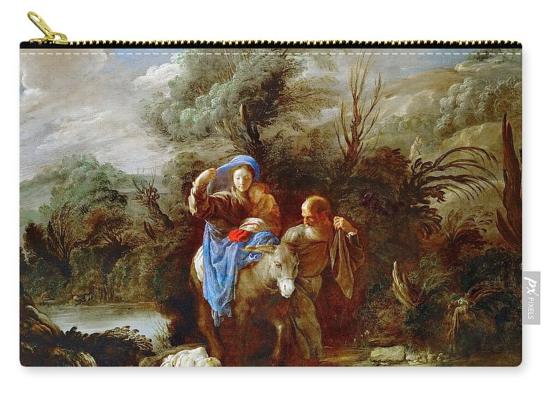 Domenico Fetti Carry-all Pouch featuring the painting Flight Into Egypt by Domenico Fetti