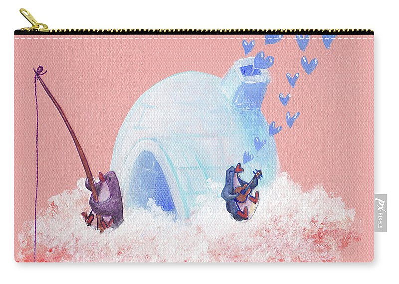 Penguin Carry-all Pouch featuring the painting Floating Island Home by MaryAnn Loo