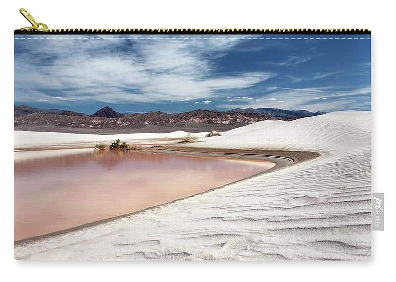 Sand Dune Carry-all Pouch featuring the photograph Flooded Dunes At Death Valley National by Gary Koutsoubis