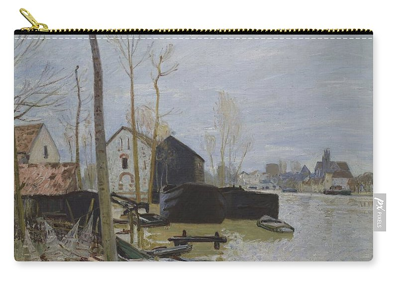 Alfred Sisley Carry-all Pouch featuring the painting Flooding At Moret, 1889 by Alfred Sisley