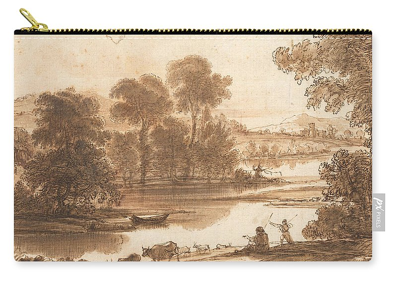 Claude Lorrain (16041605–1682 Carry-all Pouch featuring the painting Floodplain With Watering Place C by Claude Lorrain