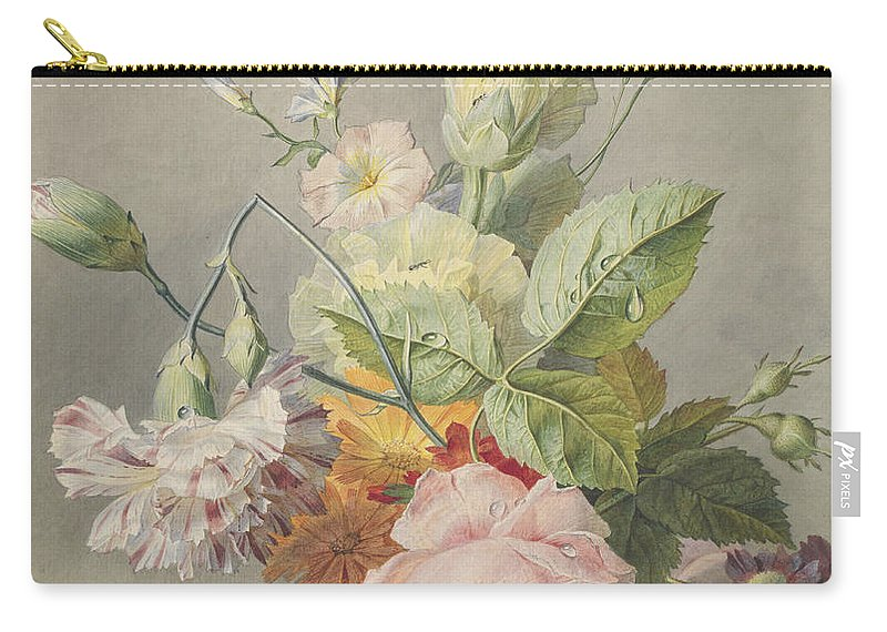 Flower Carry-all Pouch featuring the painting Floral Still Life by Georgius Jacobus Johannes van Os