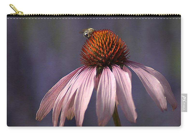 Insect Carry-all Pouch featuring the photograph Flower And Bee by Bob Van Den Berg Photography